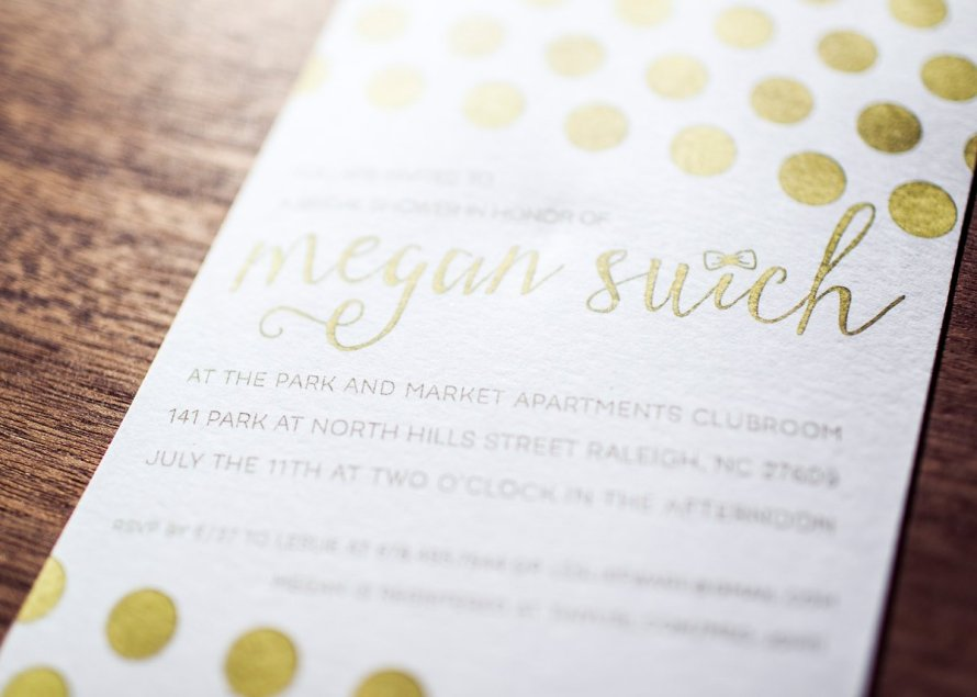 Bridal shower invitation in gold by Wild Joy Studios. Photo by Amaris Photography.