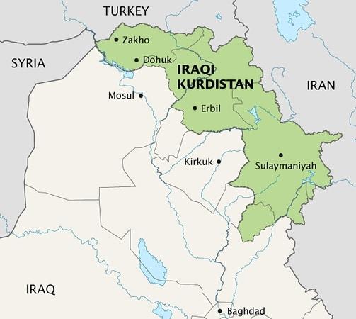 iraqi kurdistan tour - map