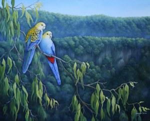 Australian bird painting - Pale-headed Rosellas