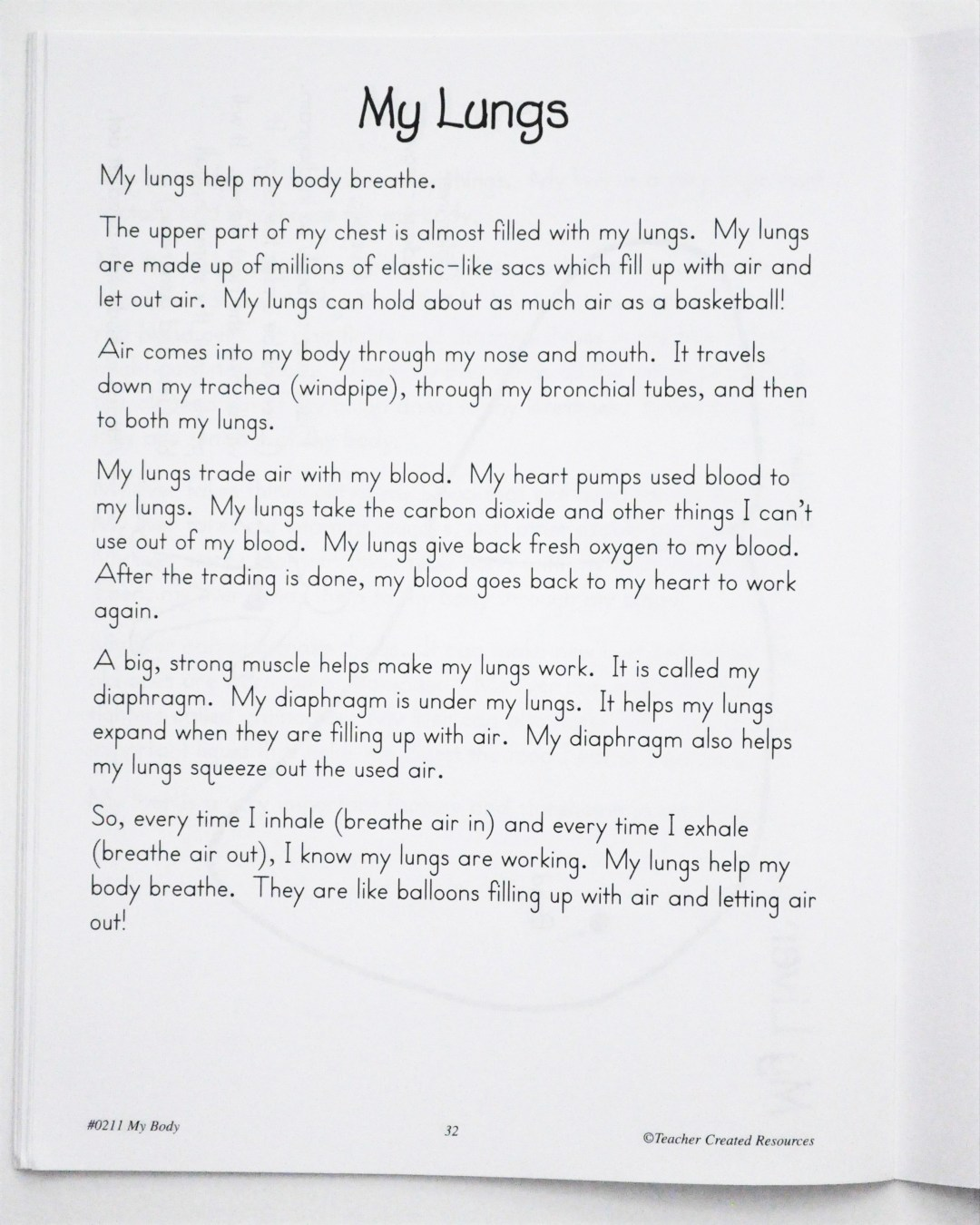 REVIEW: My Body book by Teacher Created Resources