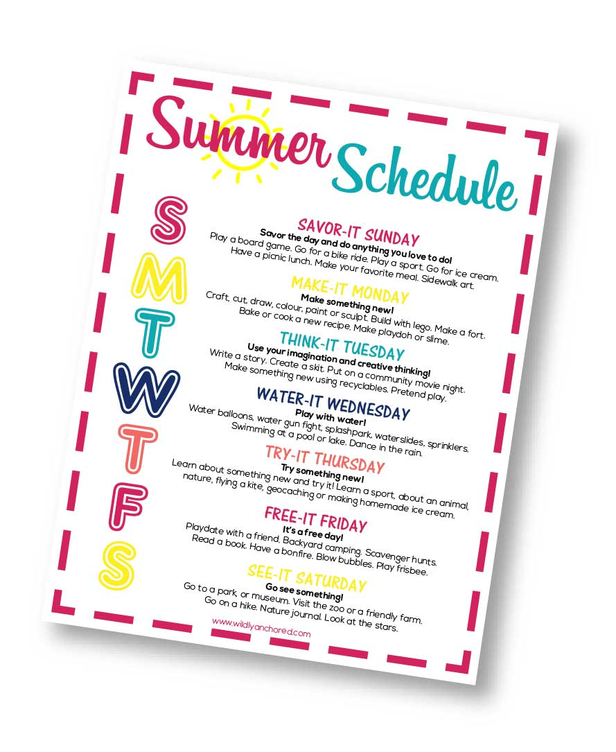 With a fun summer schedule for kids, your family will avoid boredom, have a theme to follow each day and enjoy a wonderful summer! + FREE PRINTABLE