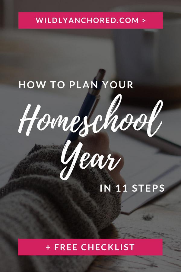 Planning your homeschool can seem overwhelming! Here are 11 steps to help you plan your homeschool year + FREE checklist & worksheet  #homeschoolplanning #homeschoolmom