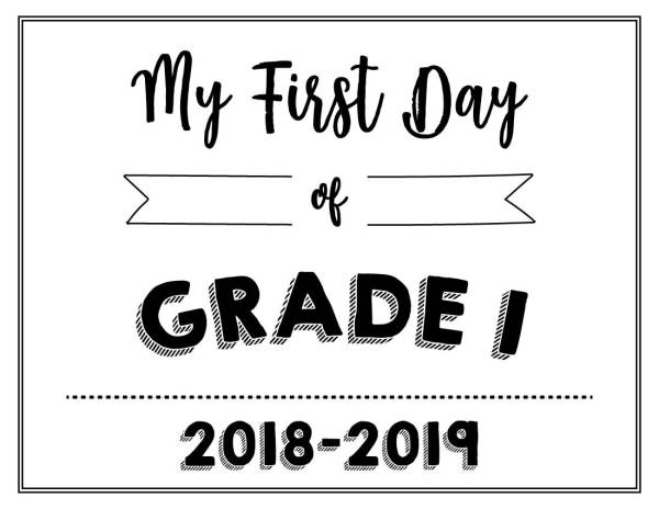 My First Day of Grade 1 Printable - Wildly Anchored