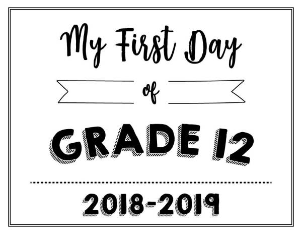 My First Day of Grade 12 Printable - Wildly Anchored
