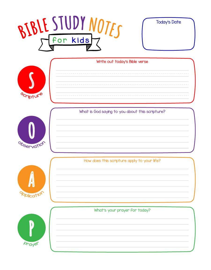 Soap Bible Study Notes For Kids Printable
