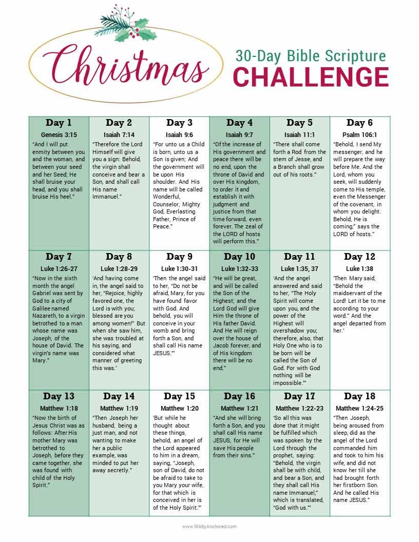 Christmas Bible Story + 30-Day Bible Scripture Challenge FaREE Printable