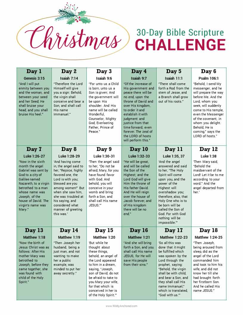 Christmas Bible Story + 30-Day Bible Scripture Challenge FaREE Printable