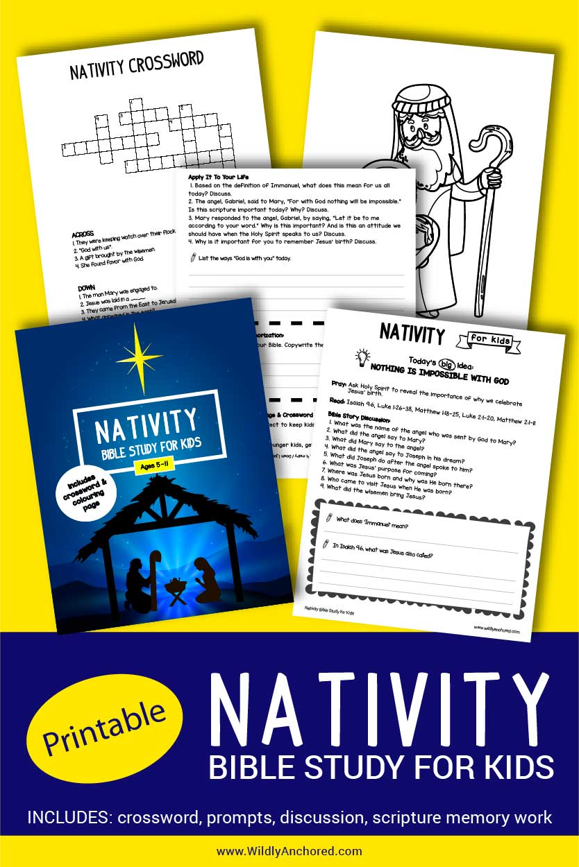 Printable Nativity Bible Study for Kids for ages 5-11 in11