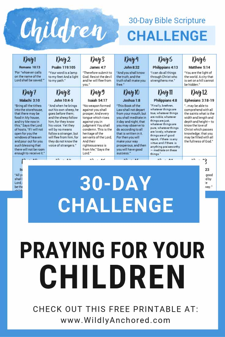 Both the enemy and sin are knocking at the door of our children's lives, and the weapon we have as parents is prayer. + FREE 30-Day Praying For Your Children Scripture Challenge #Christianparenting #PrayingMom #Prayer #RaisingKids #Prayingforyourchildren