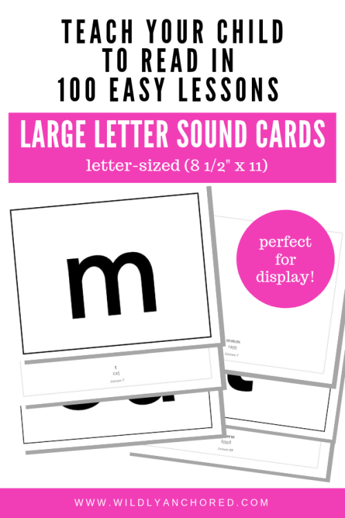 "Teach Your Child To Read In 100 Easy Lessons - Letter-Sized Letter Sound CardsPerfect to display at home or in a classroomPrint on 8 ½"" x 11"" (letter-sized) paperPrint duplex so that the front side contains the letter, and the back side contains the letter, letter sound and lesson number.Recommendation: laminate each sheet for longevityNote: These letter sounds were taken from Teach Your Child to Read in 100 Easy Lessons, First Fireside Edition, 1986Product details:Height: 8.5 InchesWidth: 11 InchesInstant Digital Download: 1 PDF included (black and white)"