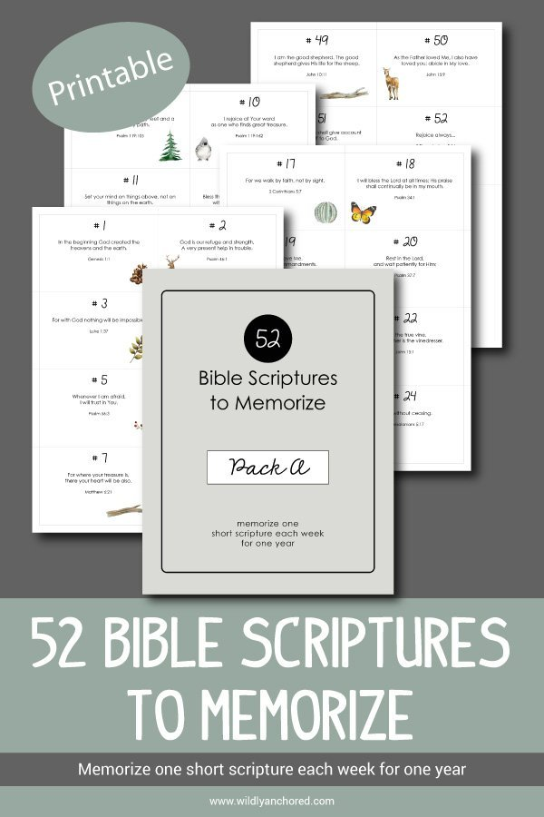 52 Bible Scriptures To Memorize Pack A - Wildly Anchored
