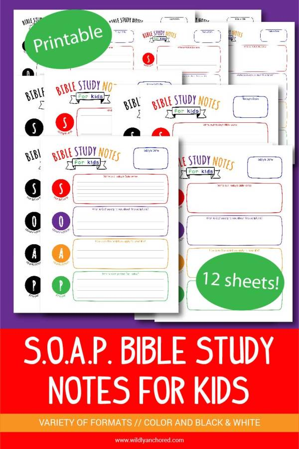 Help your kids get into the Word of God with these printable S.O.A.P. Bible Study Notes for Kids