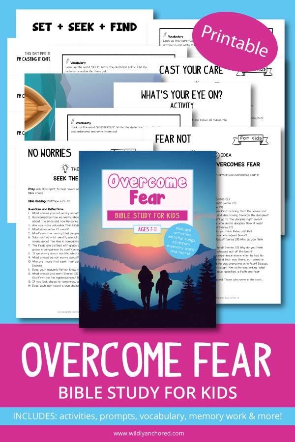 Help your kids learn that fear doesn't belong to them and that they can cast their care over onto Jesus with this Overcome Fear Bible Study For Kids. Overcome Fear Bible Study for Kids includes 3 study components: No Worries, Fear Not and Cast Your Care. Each component includes a BIG Idea, prayer, Bible reading, Bible reading discussion prompts, questions and reflections, scripture memory work, scripture writing, praise and worship songs (links included), and activities!