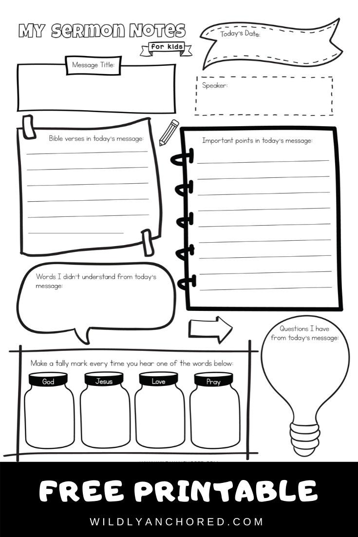Sermon Notes For Kids Free Printable