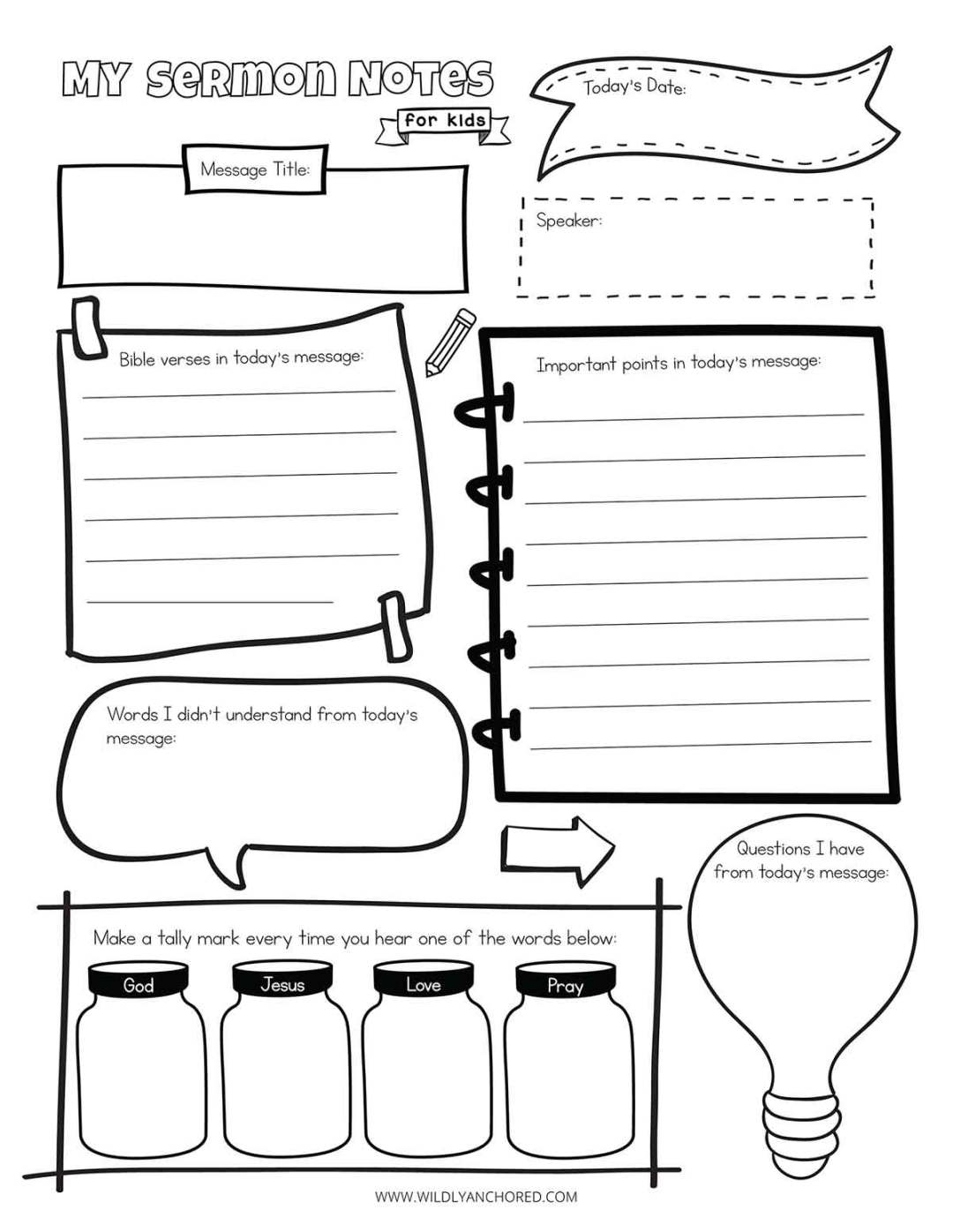 Sermon Notes For Kids Free Printable