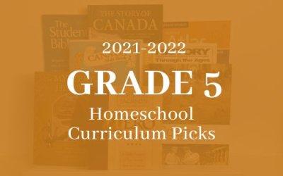 2021-2022 Grade 5 Homeschool Curriculum Picks