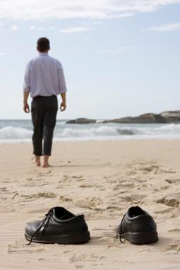 walking meditation - man walking on beach