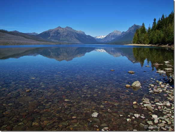 Lake MacDonald, Glacier National Park, Montana. A burn scar can be seen on the left side of the photo.