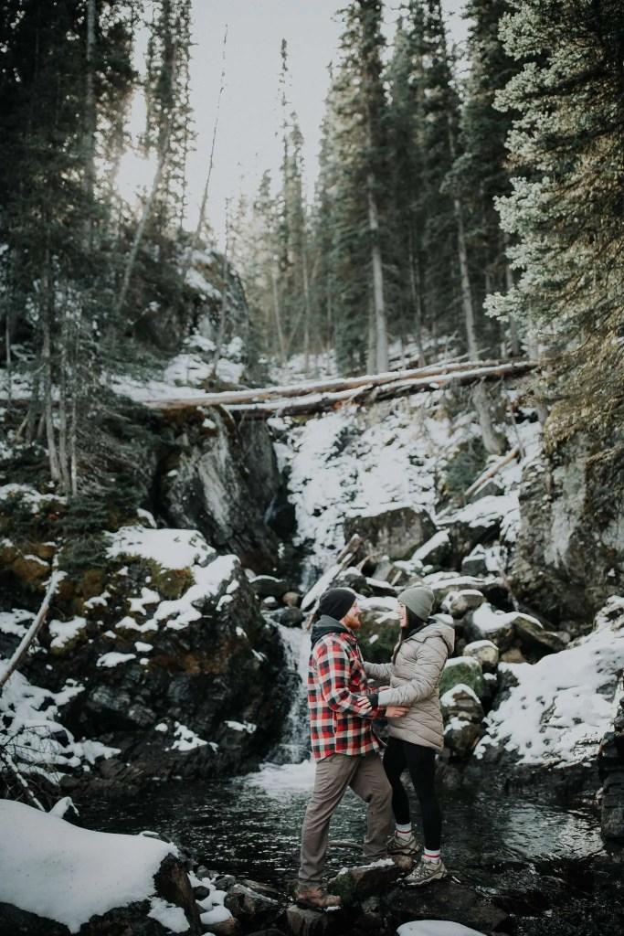 hidden waterfall, rawson lake trail, elope in banff, adventure photographer, adventure engagement session, adventure session