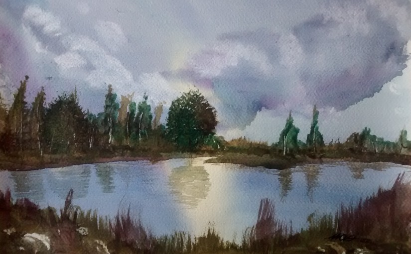 Watercolor paint (NEW) – Gentle lake, 2016