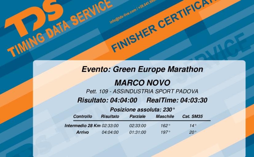 Maratona di Trieste 2017 - diploma