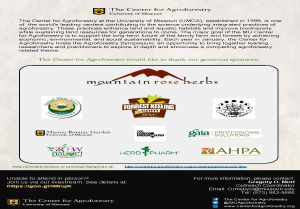 8th Annual UMCA Agroforestry Symposium Agenda Jan. 26 2017