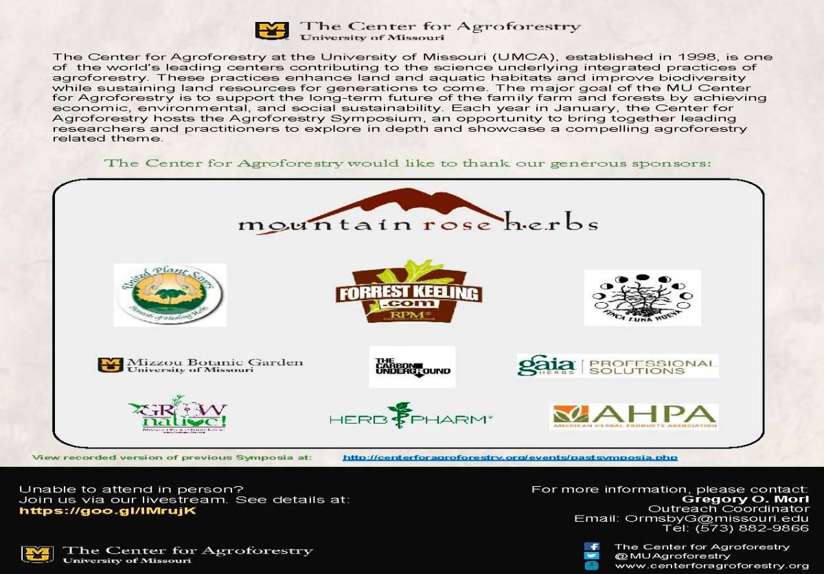 8th Annual UMCA Agroforestry Symposium Agenda Jan. 26 2017