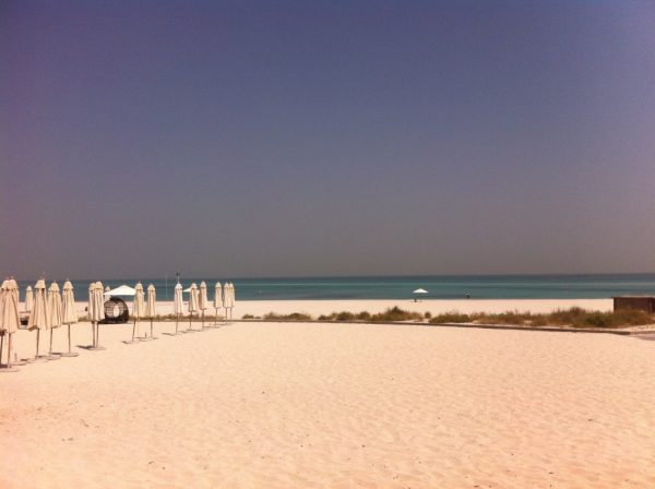 Too hot to relax long on the beach at the St. Regis hotel in Abu dhabi