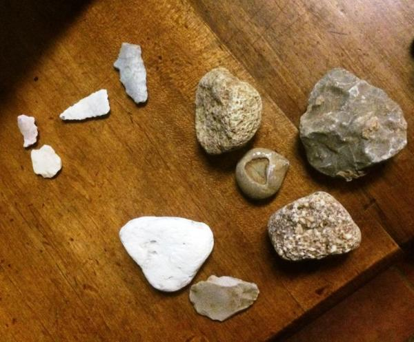 Rob has so much self restraint. But he finds the arrowheads and I don't. These are all the rocks he brought home. Except he carried my big one on the way out after I was tired.