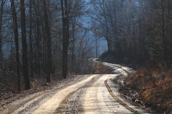 Our county road is full of curves and hills.