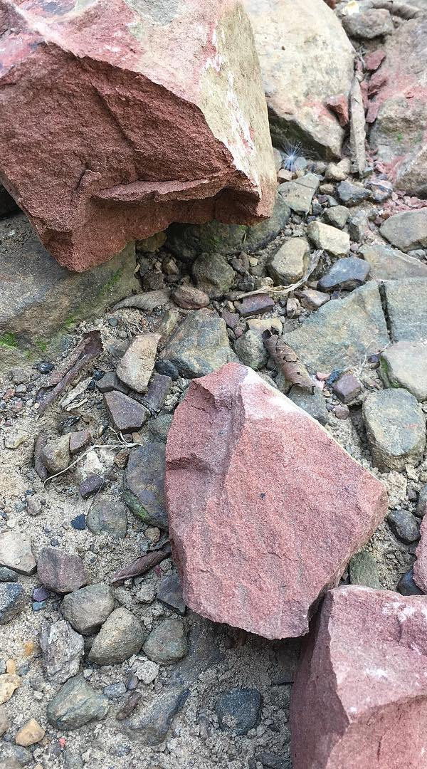 The chunk of pink sandstone after I broke it into smaller chunks.