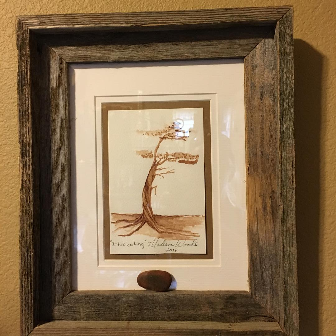 Wondering what to buy a nature lover? Traditionally framed with rock pigment sample.