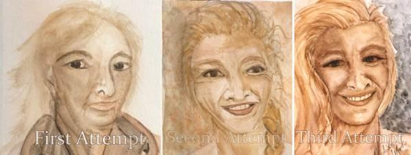 My progress toward learning to paint a portrait.