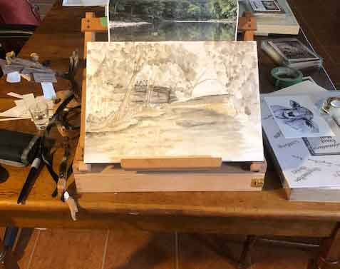 How it looked after the plein air session. Will finish from my photograph while at home now.