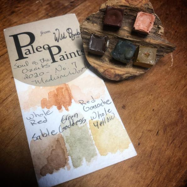 Soul of the Ozarks   2020 Collection No. 7 ... This sweet little handmade watercolor set is mounted on a burl that fits in the palm of my hand, but it packs a big color splash and the burl is full of unique character. All are light-fast wild-crafted Ozark pigments.