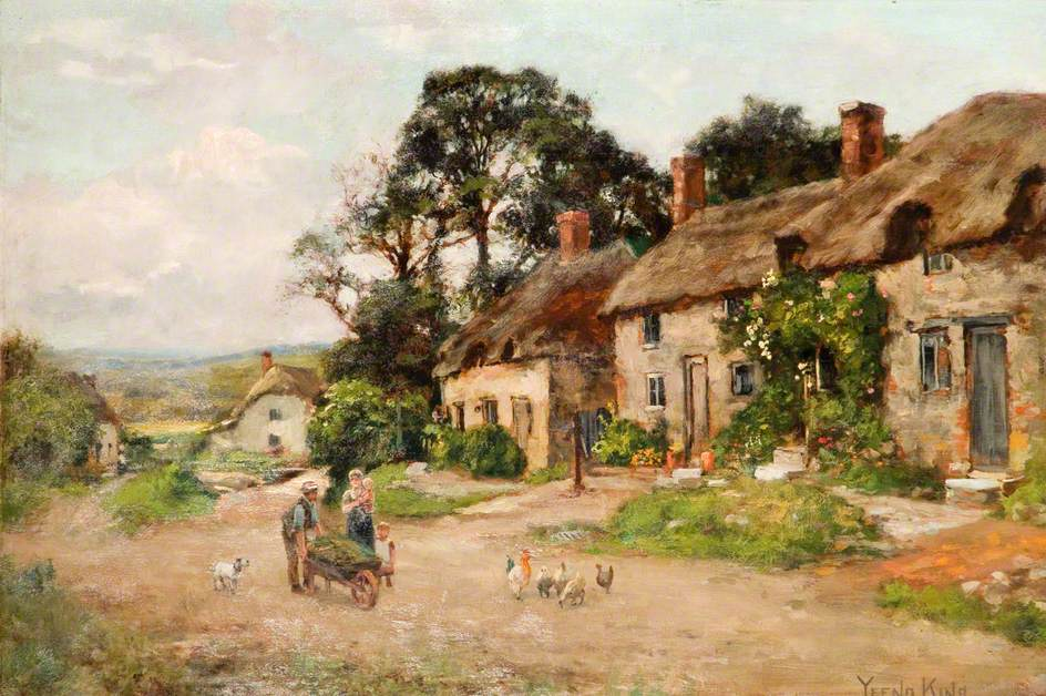 King, Henry John Yeend; Figures by a Country Cottage; Brampton Museum; https://www.artuk.org/artworks/figures-by-a-country-cottage-18509