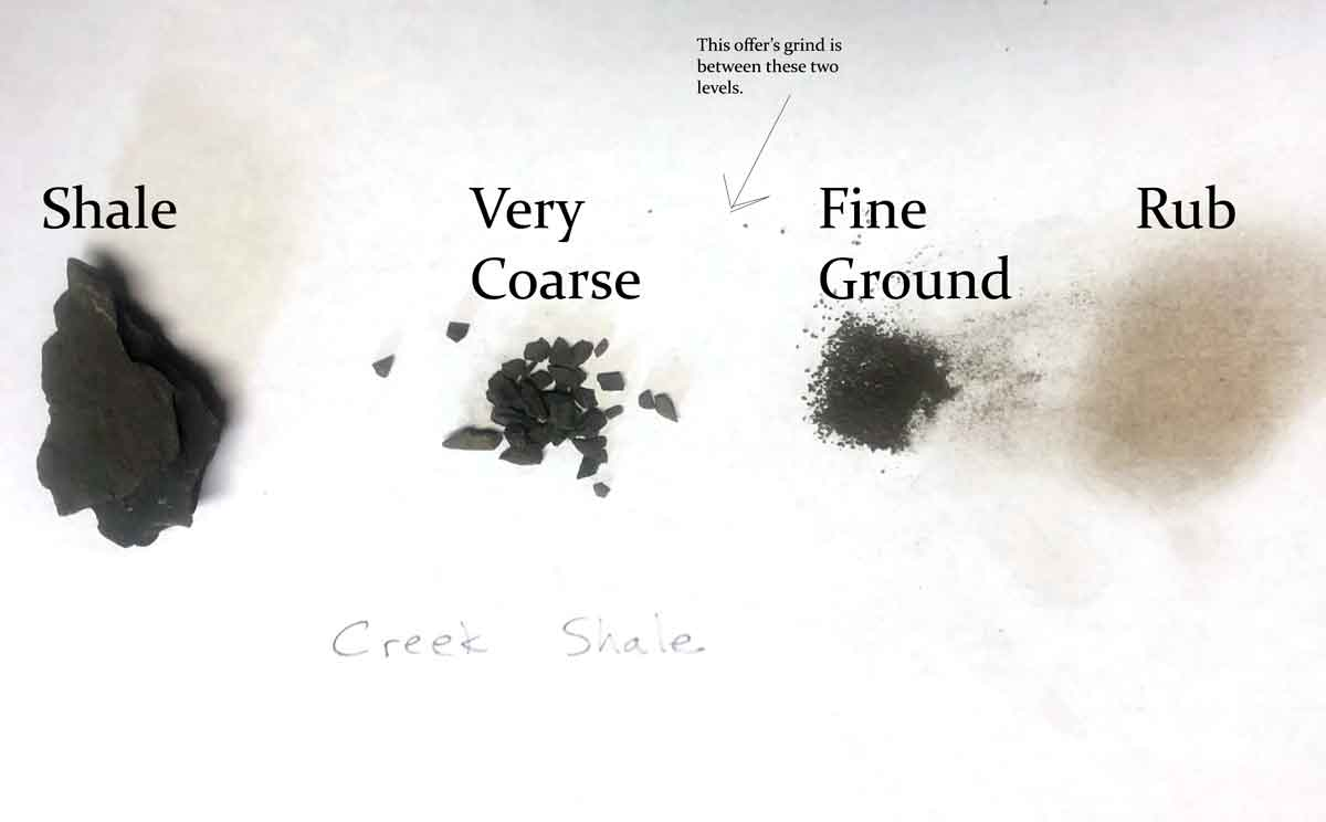 Creek shale rock-coarsely pulverized, finely ground, and rub.