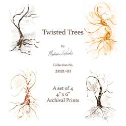 A set of 4 twisted trees, prints of original artwork by Madison Woods.