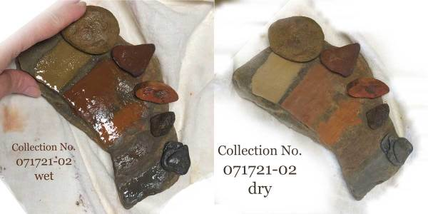 A side by side comparison of the wet and dry pigment test scrapes for collection no. 071721-02.
