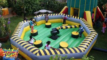 tag six 6 friends who would enjoy our eliminator inflatable game