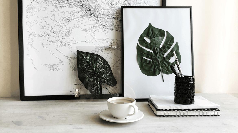 liście w ramkach prosta dekoracja wnetrz DIY
