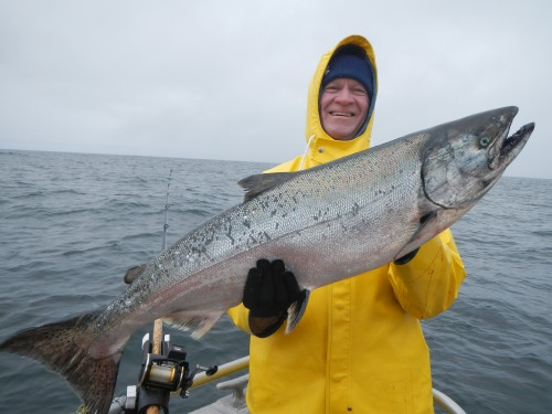 Cold Day, but Hot Salmon Fishing in Alaska
