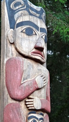 A close-up photo of a Totem pole in Sitka, Alaska