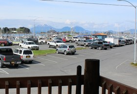 View of Mt. Edgecumbe and Eliason Harbor from the Deck of the Main Lodge