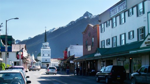 Downtown Sitka, AK, facing St. Michael's Cathedral