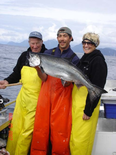 Johnny Holding up a Nice King Salmon