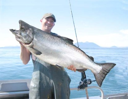 Greg Holding up a Monster King Salmon