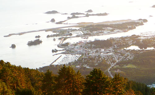 The Sitka runway takes up the entire length of Japonski Island.