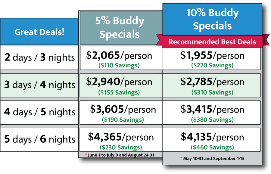 2022 Buddy Special Rates