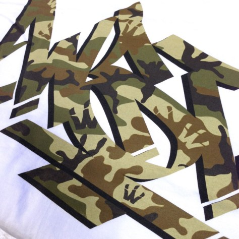WST Camo Steez print on White Tee detail shot